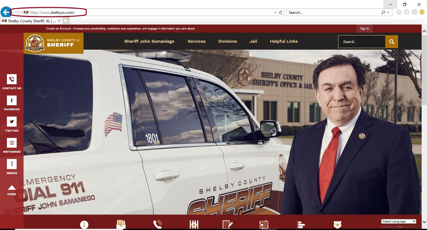 This is a photograph of the Shelby County Sheriff&#39s Office home webpage - www.shelbyso.com